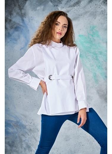 Eda Atalay KuşGözü Detaylı Gömlek Beyaz
